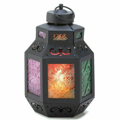 Candle Lantern with Multi-Color Glass Panels - 7.5 inches