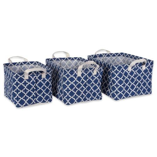 PE-Coated Nesting Fabric Bin Set - Nautical Blue