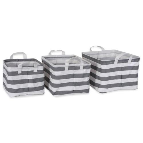 PE-Coated Nesting Fabric Bin Set - Gray Stripes