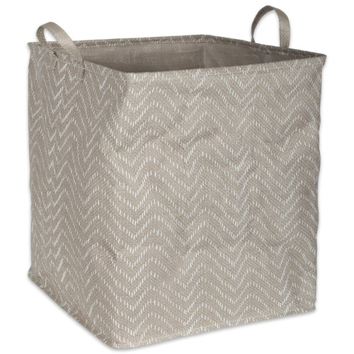 PE-Coated Square Woven Paper Bin with Gray Chevrons - 19 inches