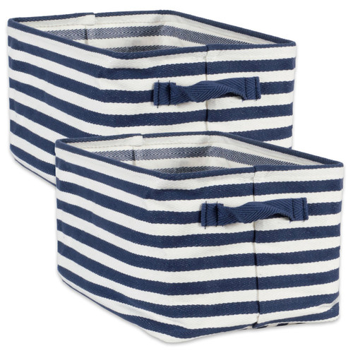 PE-Coated Fabric Bin Set with Blue Stripes - 9.5 inches
