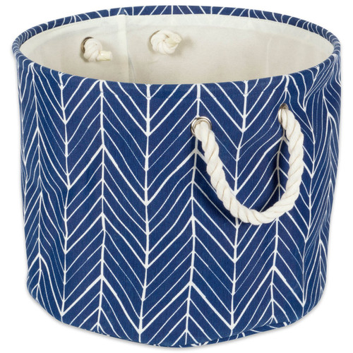 Blue Fabric Storage Bin with Rope Handles - 12 inches