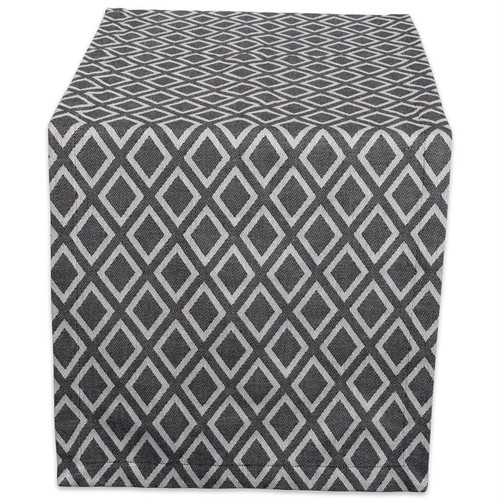Black and White Diamond Pattern Table Runner - 108 inches