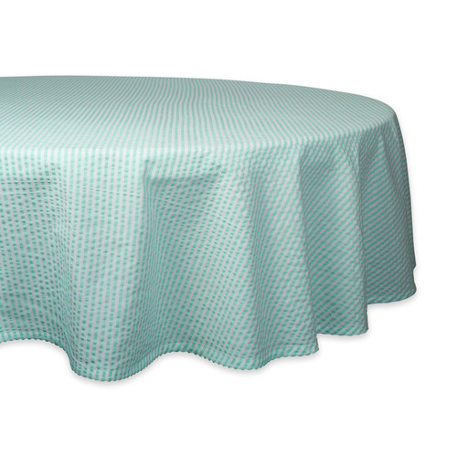 Aqua Striped Seersucker Round Tablecloth - 70 inches