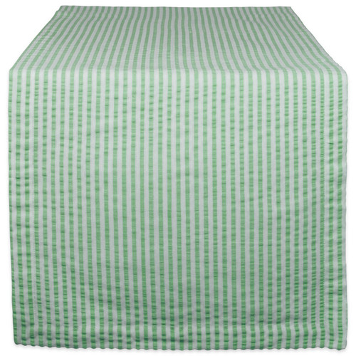 Bright Green Striped Seersucker Table Runner - 72 inches