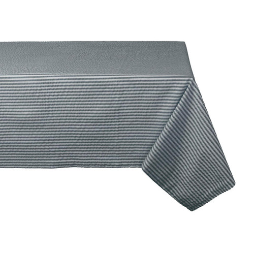 Stone Gray Striped Seersucker Tablecloth - 60 x 104 inches