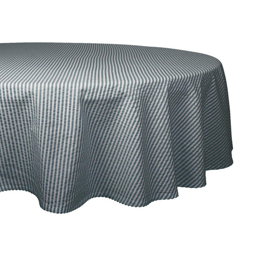 Stone Gray Striped Seersucker Round Tablecloth - 70 inches