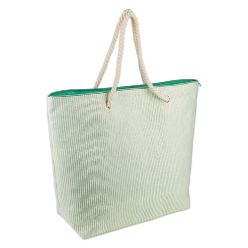 Shimmery Green Striped Woven Paper Beach Tote Bag