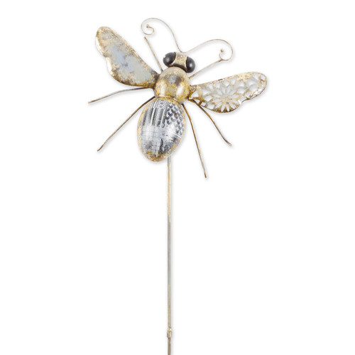 Mixed Pattern Metal Bee Garden Stake - 39 inches