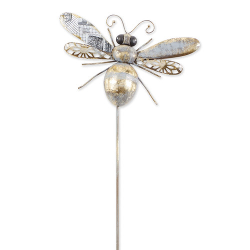 Mixed Pattern Metal Bee Garden Stake - 38 inches