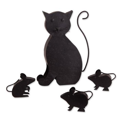 Cat and Mice Metal Garden Sculpture Set