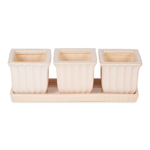 Ceramic Mini Planter Set - Ivory Square