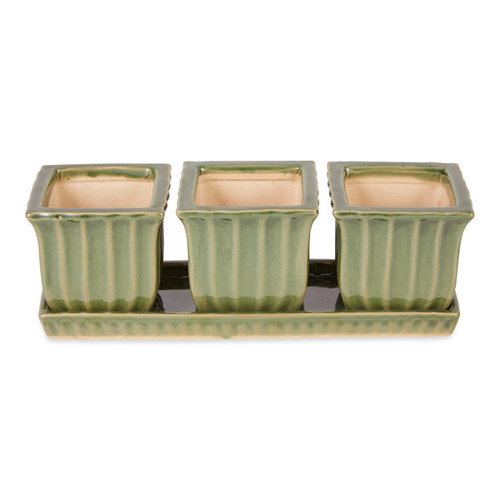 Ceramic Mini Planter Set - Green Square