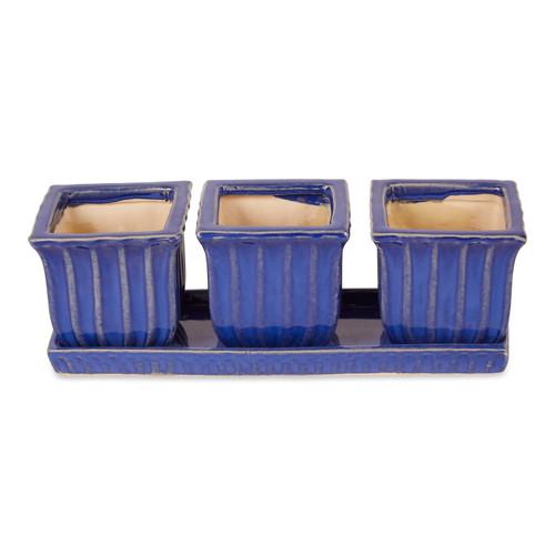 Ceramic Mini Planter Set - Blue Square