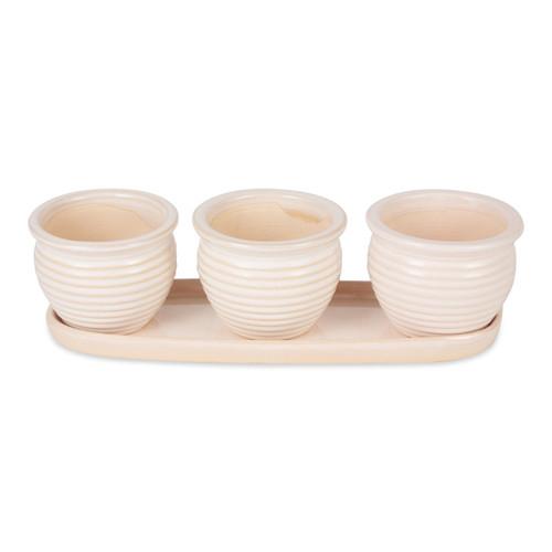 Ceramic Mini Planter Set - Ivory Round