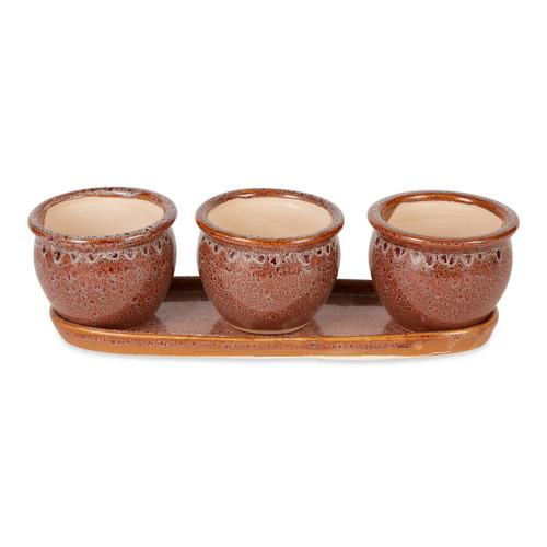Ceramic Mini Planter Set - Brown Round