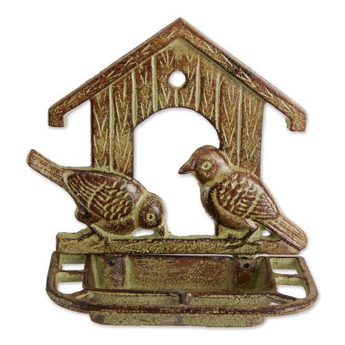 Wall-Mounted House Design Cast Iron Bird Feeder