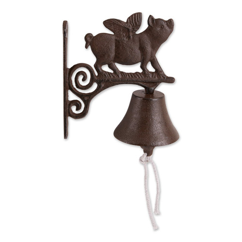 Wall-Mounted Cast Iron Pig with Wings Bell