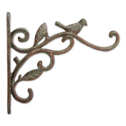 Cast Iron Plant Hanging Bracket Hook - Bird and Leaves