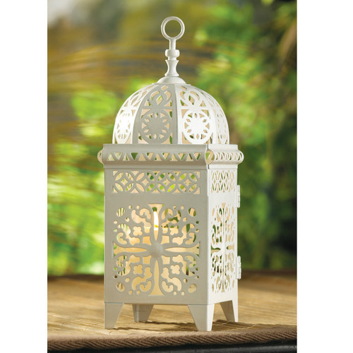 Lacy Cutout Candle Lantern - 11 inches