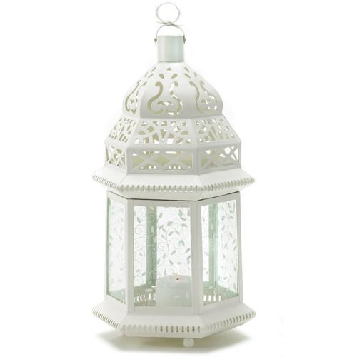 Vine Patterned Glass Garden Lantern - 15 inches