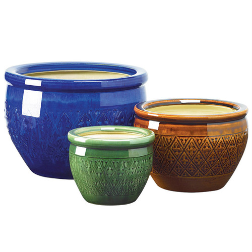 Embossed Jewel Tone Ceramic Planter Set