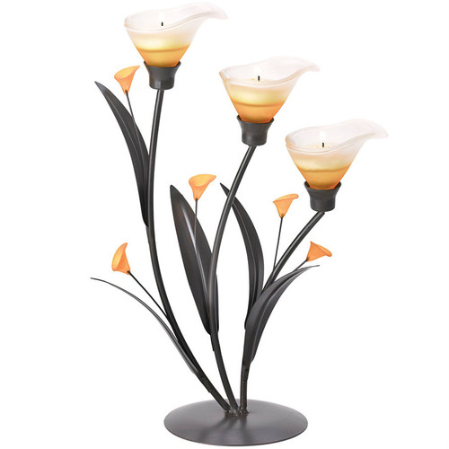 Three-Blossom Amber Lily Candle Holder