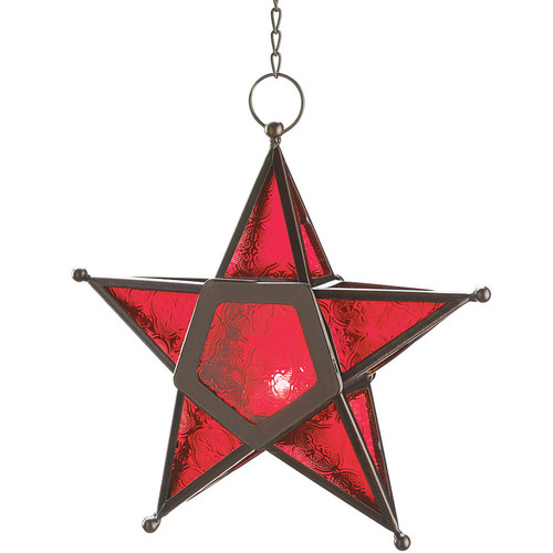 Glass Star Hanging Candle Lantern - Red