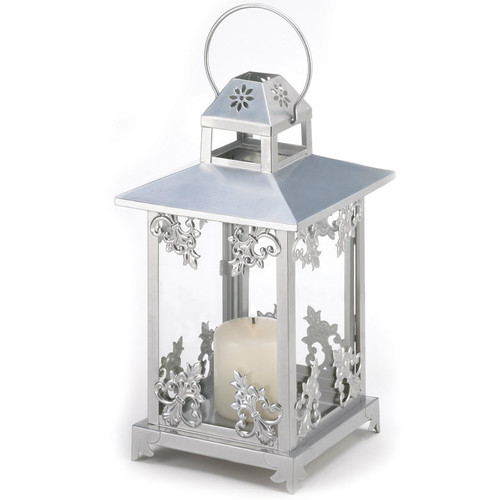 Silver Scrolls Candle Lantern - 15.5 inches