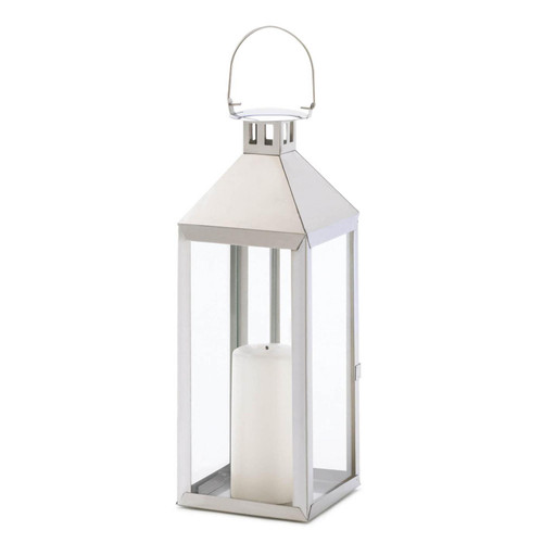 Stainless Steel Notches Lantern - 15 inches