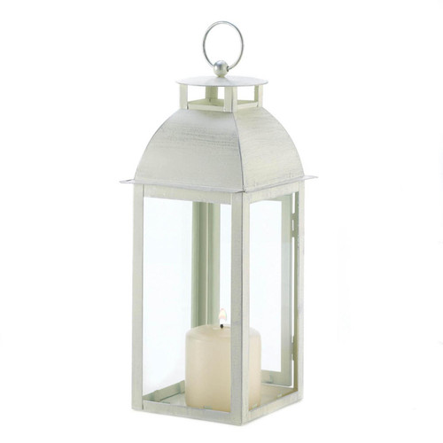 Ivory Distressed Metal Candle Lantern - 12.5 inches