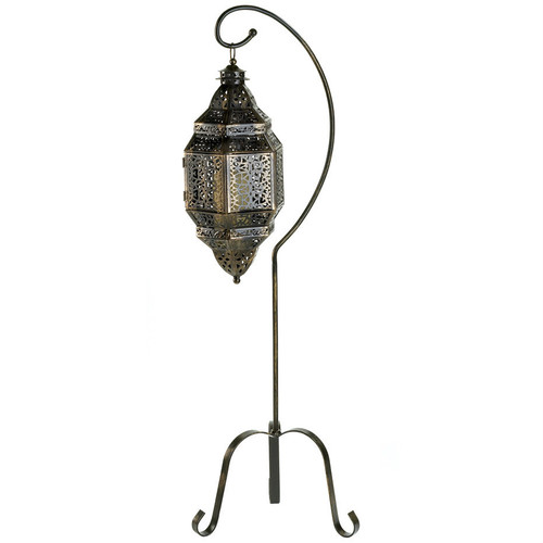 Moroccan Iron Candle Lantern with Stand
