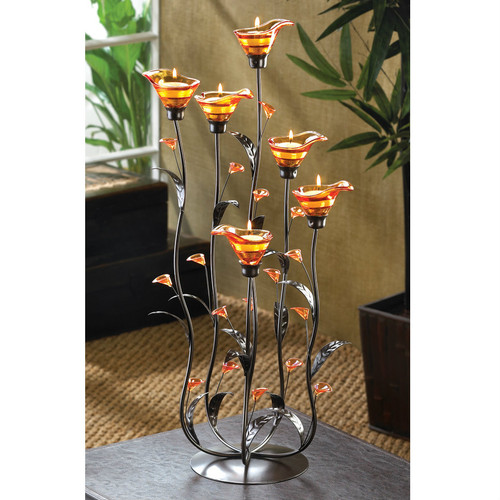 Calla Lily Candleholder with Amber Glass