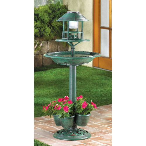 Solar-Lighted Birdbath and Planter
