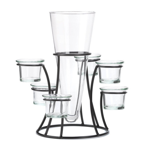 Glass Vase with Six Glass Candle Holders