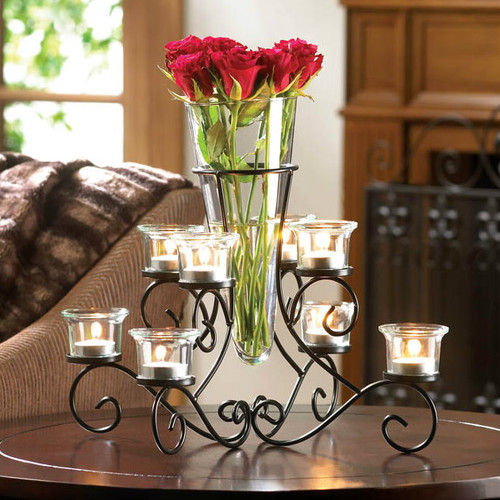 Glass Vase with Eight Glass Candle Holders