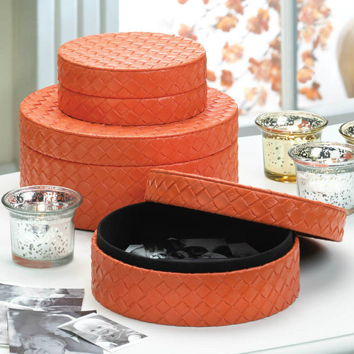 Orange Felt-Lined Keepsake or Gift Boxes