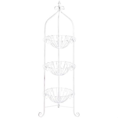 White Three-Tier Wire Basket Stand