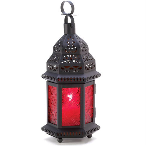 Ruby Glass Moroccan Candle Lantern - 10 inches