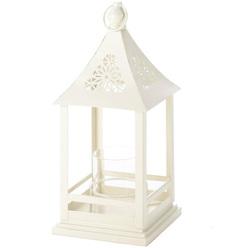 Open Lantern with Round Candle Holder - 12 inches