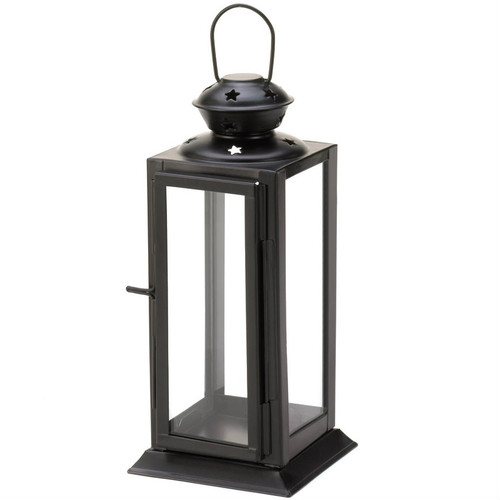 Square Black Star Candle Lantern - 8 inches