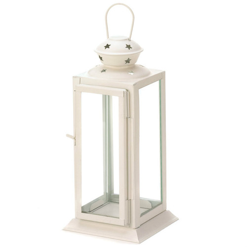 Square White Star Candle Lantern - 8 inches