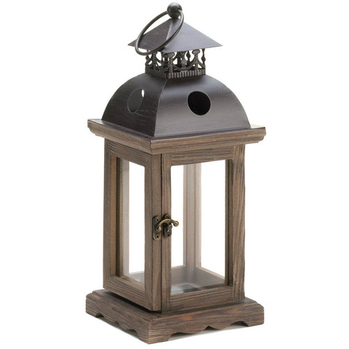 Wood Frame Candle Lantern - 12 inches