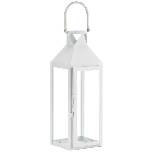 Square Clear Glass White Candle Lantern - 15 inches
