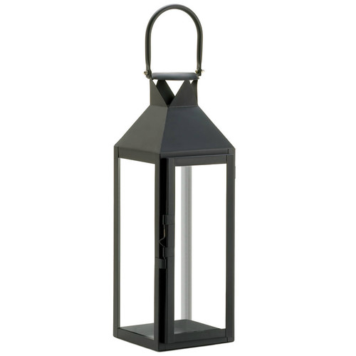 Square Clear Glass Black Candle Lantern - 15 inches