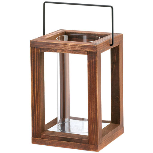 Rustic Wood Brown Candle Lantern - 9 inches