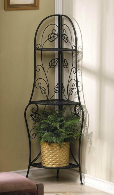 Metal Corner Three-Shelf Unit with Leaf Design