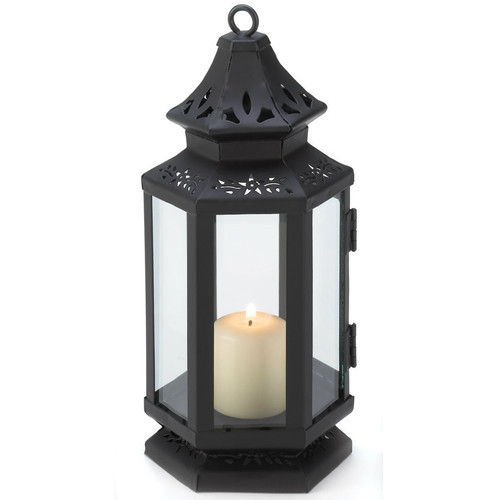 Victorian Style Black Candle Lantern - 8 inches