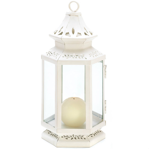 Victorian Style White Candle Lantern - 10.5 inches