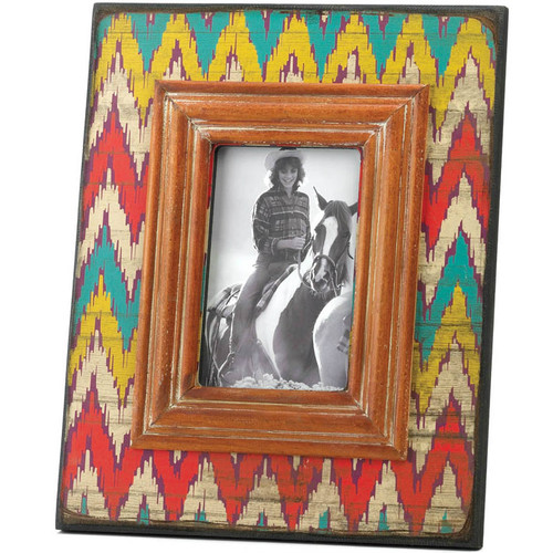 Ikat-Style Chevron Weathered-Look Photo Frame - 4x6